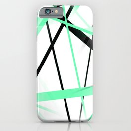 Criss Crossed Mint Green and Black Stripes on White iPhone Case