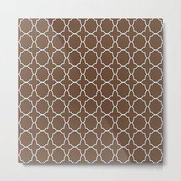Coffee Brown Quatrefoil Pattern Metal Print