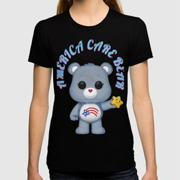 american bear blue on pink font T-shirt