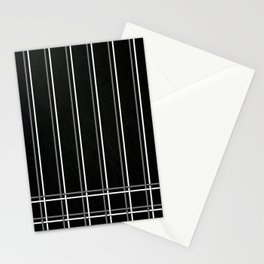 White & Gray Pinstripes on Scratched Black Grunge Illustration - Graphic Design Stationery Cards