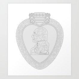 Purple Heart Medal Outline Art Print