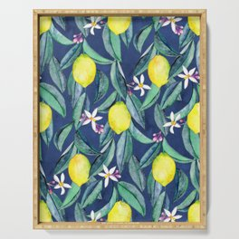 When Life Gives You Lemons - blue Serving Tray