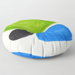Mid Century Modern Retro Minimalist Colorful Shapes Phthalo Blue Lime Green Native Pebbles Floor Pillow