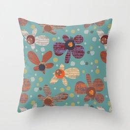 Retro Flowers Green Throw Pillow