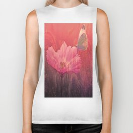 Butterfly on Summerflower Biker Tank