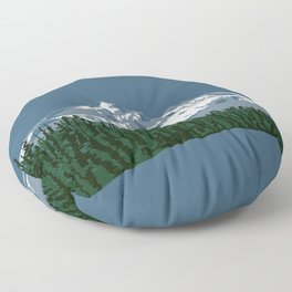 Mount Hood Illustration Floor Pillow