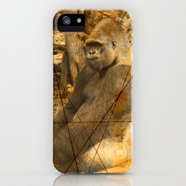 Magnificent Silverback Lowland Gorilla Grunge Photo with Vintage Effects iPhone Case