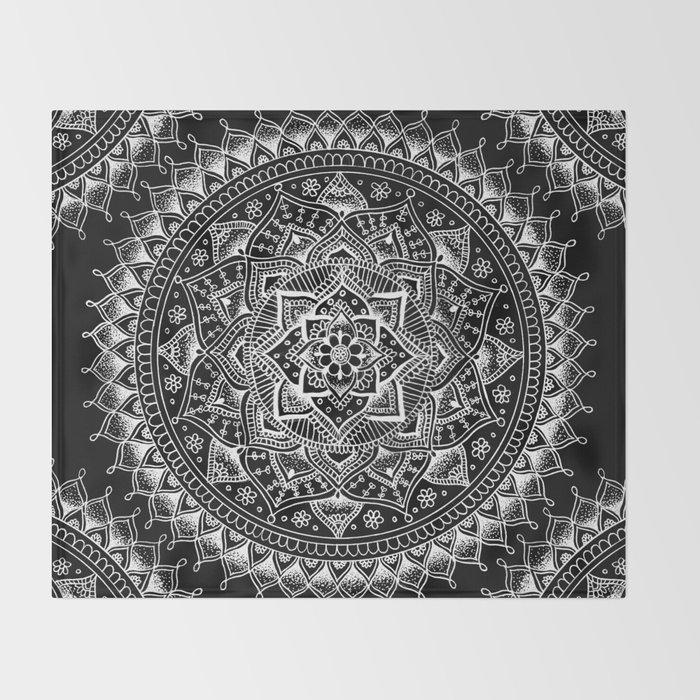 White Flower Mandala on Black Throw Blanket