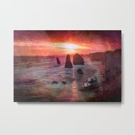 Sunset At Rocky Beach With Shipwreck Metal Print