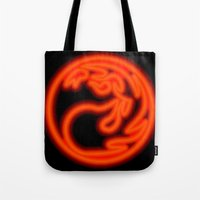 magic the gathering Tote Bags featuring Magic the Gathering, Neon Red Mana by Thorn Blackstar
