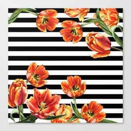 Red Orange Tulips Black Stripes Chic Canvas Print