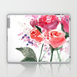 Abstract Watercolor Red Roses Laptop & iPad Skin