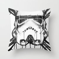 storm trooper Throw Pillows featuring storm trooper by ErDavid