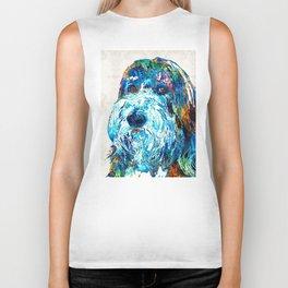 Bearded Collie Art 2 - Dog Portrait by Sharon Cummings Biker Tank