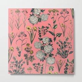 Drawing Flowers in Pink Metal Print