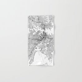 Sydney White Map Hand & Bath Towel