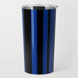 Black and blue striped . Travel Mug