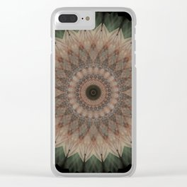 Mandala in green and beige tones Clear iPhone Case