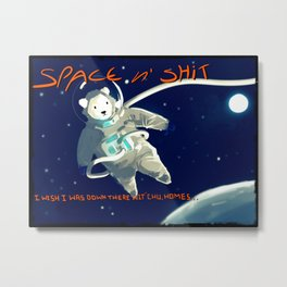 Space polar bear card Metal Print