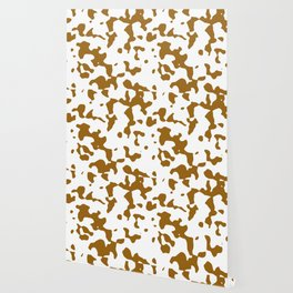 Large Spots - White and Golden Brown Wallpaper