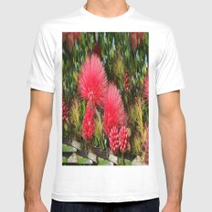 Wild fluffy red flowers MEDIUM White Mens Fitted Tee