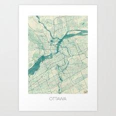 Ottawa Map Blue Vintage Art Print