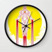 tony stark Wall Clocks featuring Iron man - Tony Stark Hobbie by Zrek