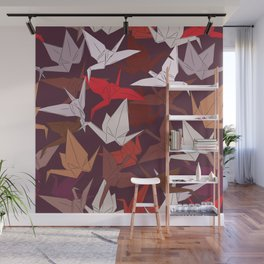 Japanese Origami paper cranes symbol of happiness, luck and longevity, sketch Wall Mural