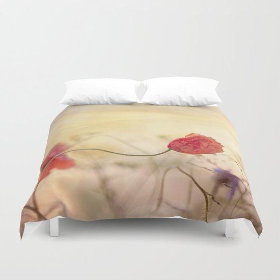 Poppy flower and sunset Duvet Cover