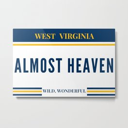 West Virginia Almost Heaven WVU Mountaineers Gifts Metal Print