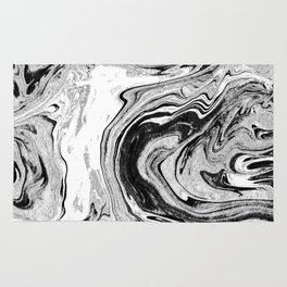 Masuki - black and white minimal spilled ink marbled paper marble texture marbling marble painting Rug