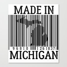 MADE IN MICHIGAN Barcode Canvas Print