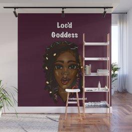 Loc'd Goddess Version 2 on Deep Plum Background Wall Mural