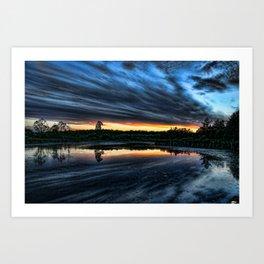 Sunset over the pond Art Print