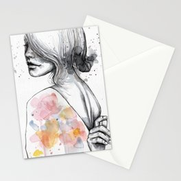 Implosion, watercolor with ink Stationery Cards