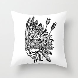 Indian chief skull head Throw Pillow