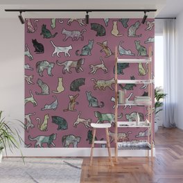 Cats shaped Marble - Plum Violet Wall Mural