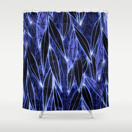 Blue Bamboo Night Print Shower Curtain