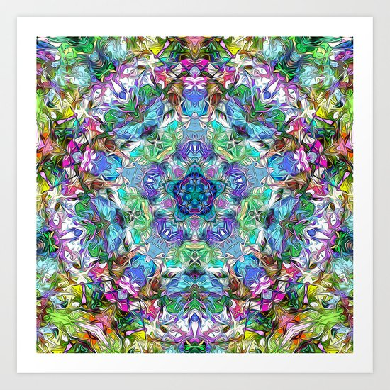 Five Points of Color Abstract Art Print