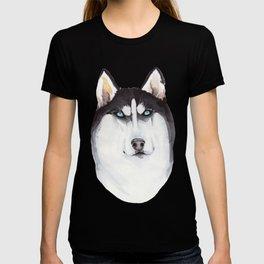 watercolor blue-eyed husky T-shirt