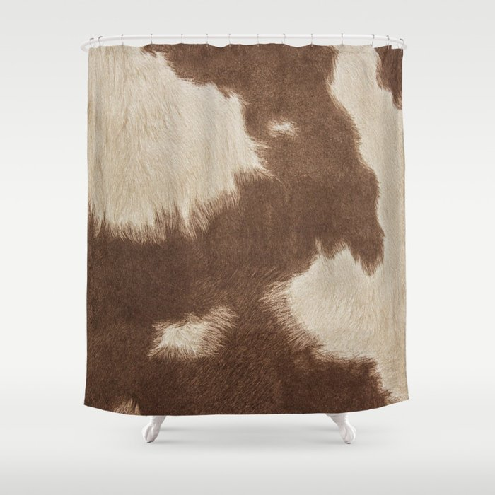 Cowhide Brown And White Shower Curtain