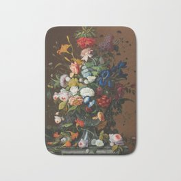 Severin Roesen - Flower Still Life With Birds Nest Bath Mat