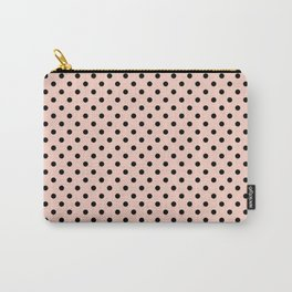 Small black polka dots on a pink beige background. Carry-All Pouch