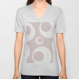 Cashmere pastel pink and white abstract graphic art Unisex V-Neck