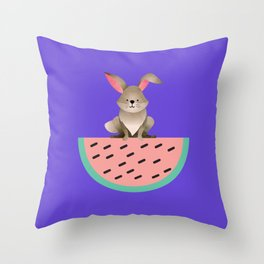 Bunny and the Watermelon Throw Pillow