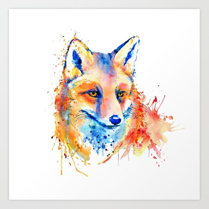 Cute Fox Head Art Print By Marianvoicu Society6