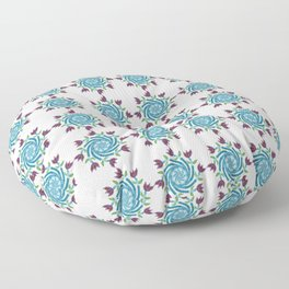 Swirls & Flowers-deep aqua Floor Pillow