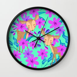 Cute wild sweet little baby deer fawns lost in the forest of blooming pink flowers illustration. Wall Clock