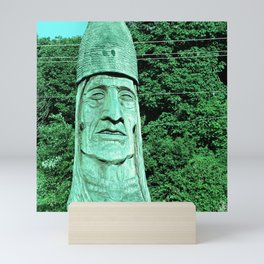 Whispering Giants, Native American Sculpture, Wood Carving, Portrait Mini Art Print