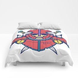 Skull Warrior - Red/green/yellow Comforters